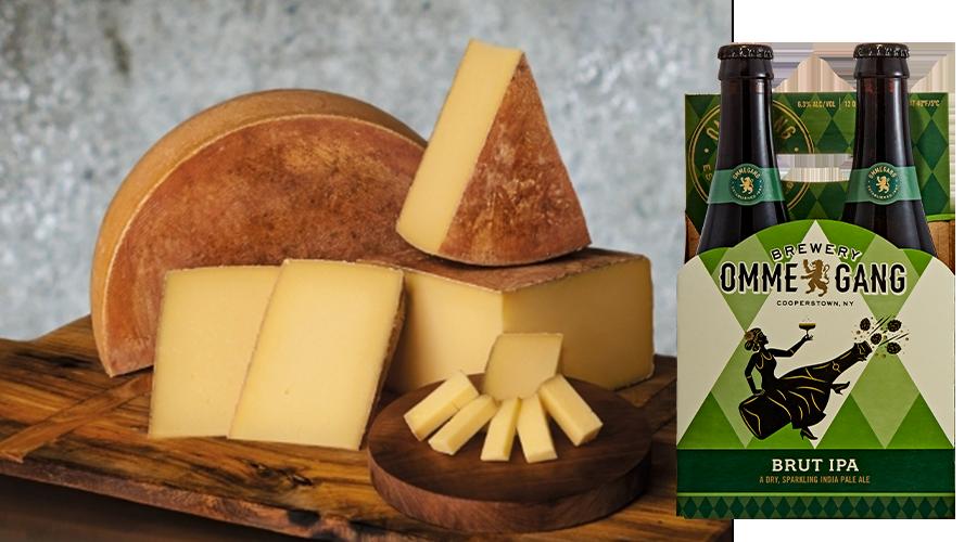 Pair Brut IPA with Jasper Hill Alpha Tolman Cheese